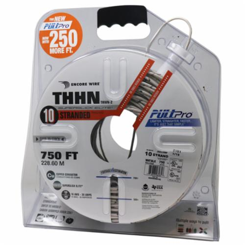 Encore Wire THHN-CU-10-STR-WHT/BLK-1500FT-PP