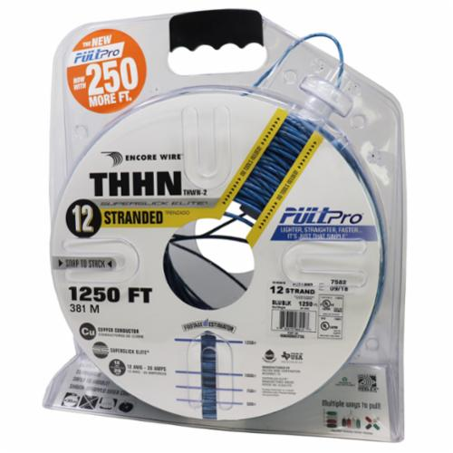 Encore Wire THHN-CU-12-STR-BLU/BLK-2500FT-PP