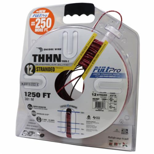 Encore Wire THHN-CU-12-STR-RED/WHT-2500FT-PP